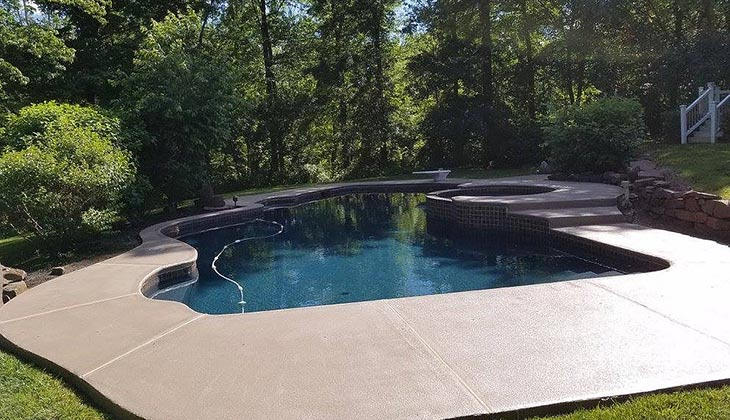 Non-skid textures and weather-resistant capabilities protect your pool deck for decades.